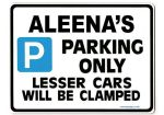 ALEENA'S Personalised Parking Sign Gift | Unique Car Present for Her |  Size Large - Metal faced